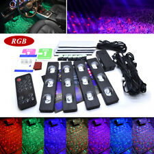 4x 7-color RGB LED Car Interior Neon Atmosphere Strip Light Music Remote Control