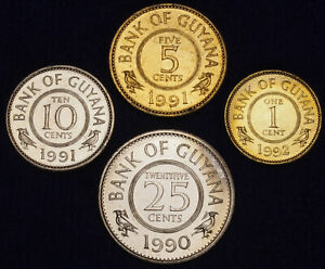 Guyana 25 to 1 Cent 1988 to 1992 UNC Set - 4 pcs (GLCS-002)