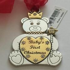 NWT Brighton Silver Gold Swarovski Crystal BABY BEAR FIRST Christmas Ornaments