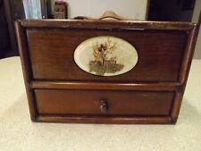 Vintage Wooden Drawer Sewing Box Drawer Bottom Flip Door Leather handle Retro