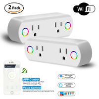2Pcs WiFi Smart Plug Power Socket Dual Outlet Switch Work With Alexa Google Home