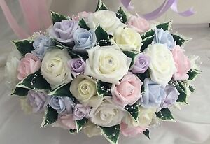 Wedding Table Centrepiece, top table arrangement light pastel shades