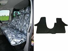 Urban Grey Camo Seat Covers Rubber Floor Mat Set for VW Transporter T6 (2015 on)