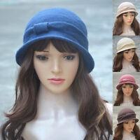 Womens ladies wool Cloche Bucket Cap Wedding  formal beret winter 1920s Hat A220