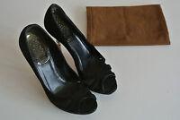GUCCI DEBRA Black Suede Bamboo Heel Peep Toe Pump Shoe 36.5