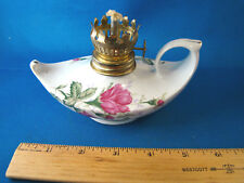 """Small Porcelain Genie Oil Lamp No Hurricane Glass White with Rose 5"""" Long @24"""