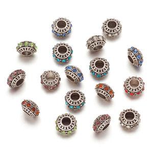 50pcs Tibetan Alloy Rhinestone European Large Hole Beads Rondelle Spacer 11x7mm