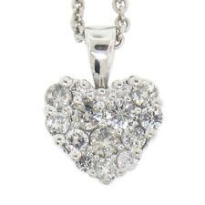 sólido 14k ORO BLANCO 40.6cm 0.70ctw Puesto Pavé Diamante Redondo Collar con