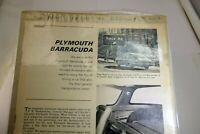 1965 Plymouth Barracuda V8 Test Magazine clipping advertisement Ad