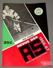 1966-67 AHL Quebec Aces Program Bob Rivard Cover