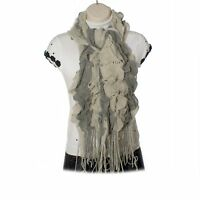 Womens / Ladies Woolie Knitted Bobble Ruffle Scarf