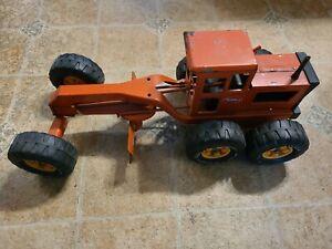 """Vintage TONKA PRESSED STEEL Orange ROAD GRADER - 17 1/2"""""""