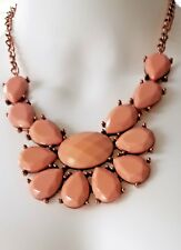 Glam Apricot Faceted Lucite Beaded Coppertone Metal Statement Necklace