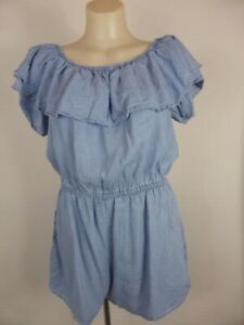 LYOCELL blue Chambray ruffle frill Shorts Jumpsuit Playsuit 12 14 REDUCED!