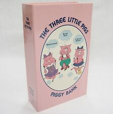 Vintage Three Little Pigs Piggy Bank Figural Book Pink Bright Crest Made in USA