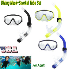 Professional Adult Tempered Glass Snorkeling Valve  w/ Breathing Tube Diving Set