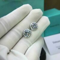 2.20Ct Round Cut Moissanite Halo Stud Earrings Screw Back 18K White Gold Finish