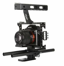 Rod Rig Camera Video Cage Kit Stabilizer+Top Handle Grip For BMPCC Sony A7/R/S