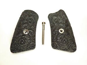 Ebony Floral Scroll Ruger SP101 Grips Inserts Checkered Engraved