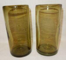 2 Handblown 21 oz Tumblers Sage Olive Avocado Green Ice Tea Coolers Glasses