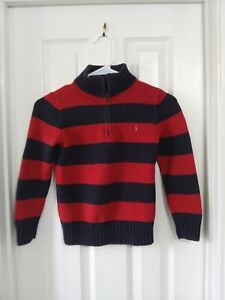 Boys's Polo By Ralph Lauren Long Sleeve Sweater 1/4 Zip Pullover size 7