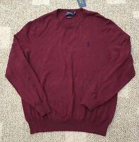 Polo Ralph Lauren Mens Crew Neck Sweater Burgundy Red Size L 100% Pima Cotton
