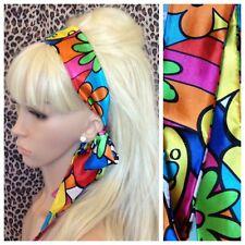 FLOWER POWER SATIN HAIR SCARF HEADBAND SELF TIE BOW 60s 70s RETRO FANCY DRESS
