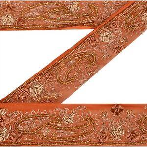 Sanskriti Vintage Sari Border Antique Hand Beaded Trim Sewing Orange Lace