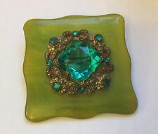 Green Paste Set Bakelite Brooch Art Deco Czech West German