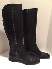 Michael Kors Eyelet Riding Boots Flat Knee High Tall Leather Black 12 M / 43.5