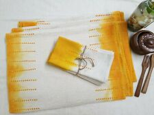 Handmade Set of 6 Tie Dye Cotton Table Mats & 6 Napkins in Golden Yellow Natural