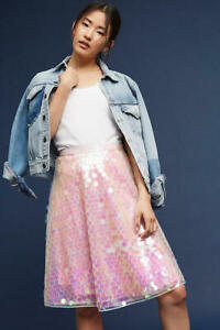 Eva Franco Anthropologie Sparkly Iridescent Tulle Sequin Skirt Size 4 Pink