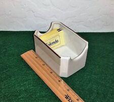 "Steelite Int'l Porcelain Sugar Packet Caddy ""White/Tan/Brown Border""  England"