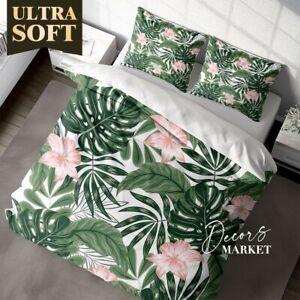 Monstera Banana Leaves Floral Flowers  Duvet Cover Set Single Double Queen King