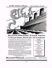 1936 BIG Vintage Raymond Whitcomb Summer Cruise Ship Cosimini Art Print Ad