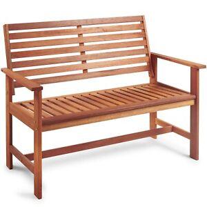 VonHaus Garden Bench - Teak Oil Treated Meranti Hardwood – Wooden 2 Seater