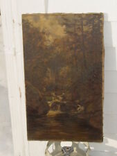 19thC Signed NH Artist William Preston Phelps Painting O/C WOODLANDS STREAM