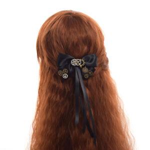 Vintage Victorian Steampunk Gear Hair Clip Black Bowknot Party Cosutme Headwear