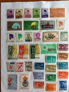 Lot of 37 Indonesia stamps~1951-1969~Sukarno~train~plane~Thomas cup~GANEFO games