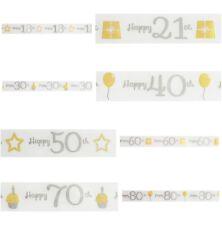 Happy Birthday 25mm Satin Ribbon 18th 21st 30th 40th 50th 60th 70th 80th