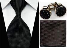 GL098 Solid Black Striped Necktie Men's Tie Cufflinks Hanky Handkerchief Set i