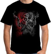 Velocitee Mens Cowboy Bandit Skeleton T Shirt Wild West Western Biker A20290