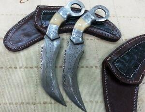 Custom Handmade Knife King's Damascus Ranger Karambit pair