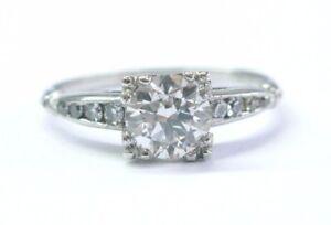 Platinum Vintage Old European NATURAL Diamond Engagement Ring 1.01CT