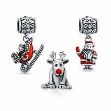 Bling Jewelry 925 Silver Rudolph Santa Sleigh Christmas Bead Set