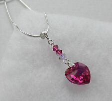 Handmade Swarovski Elements Crystal Pretty Fuchsia Pink Heart Chain Necklace