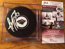 3aa96e6c8 J.T Brown Autographed Minnesota Wild Hockey Puck JSA COA w PUCK CUBE