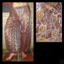 Harem Pants Belly Dance Lace Brown w/ Silver & Gold Floral Pattern