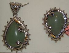 FANCY BOLD REAL GREEN AVENTURINE 14KG & 316 S/S RING SIZE 11 & NECKLACE SET