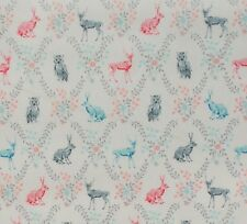 Woodland creatures white by Sevenberry 100% Cotton Fabric Sold by FQ+